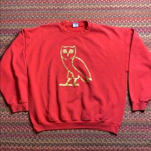 DRAKE OVO OWL RED PULLOVER SWEATER